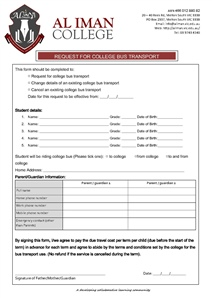 College Bus Transport Form